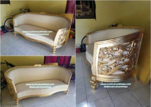 Sofa Tamu Mewah Gold Leaf Art
